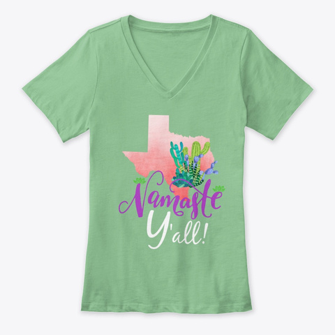 Texas Cactus Namaste Y'all ! Leaf  T-Shirt Front