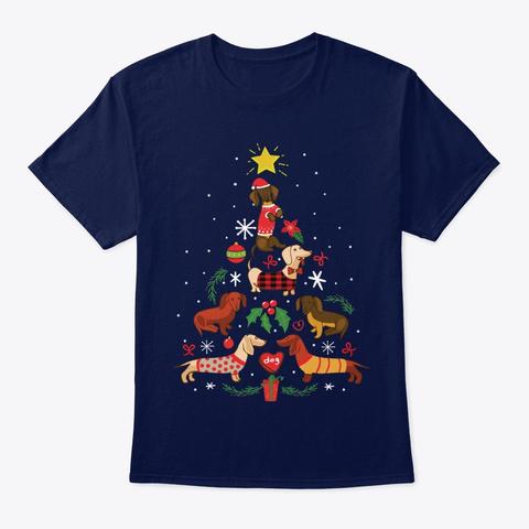 Dachshund Christmas Tree T Shirts Navy T-Shirt Front