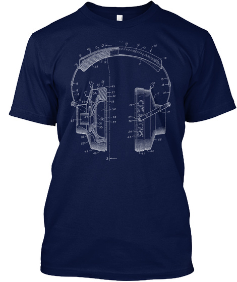 Creators Of The Storm   Headphones Navy T-Shirt Front