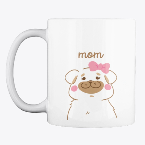 Pug Mom Charming Pastel Art White T-Shirt Front