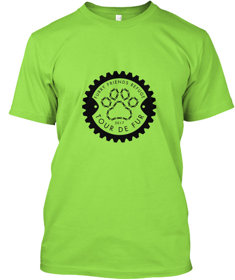 Furry Friends Refuge 2017 Tour De Fur Lime T-Shirt Front