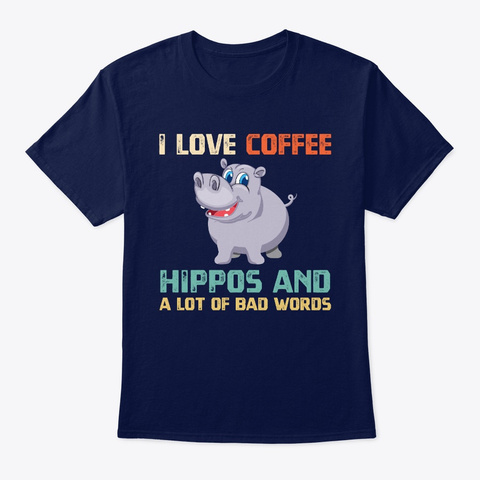 Funny Hippo Coffee Love T Shirt Navy T-Shirt Front