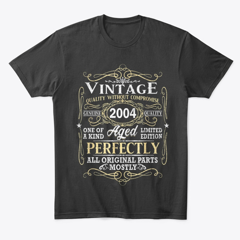 Vintage 2004 Birthday T Shirts Gift Black T-Shirt Front