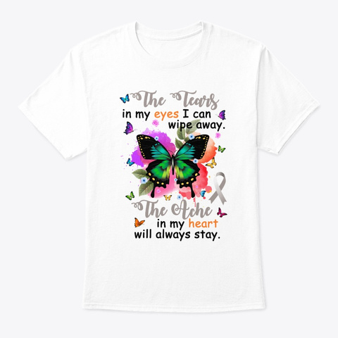 The Ache My Heart Brain Cancer Awareness White T-Shirt Front