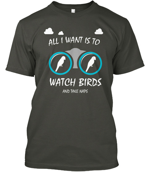 All I Want Is To Watch Birds And Take Naps Smoke Gray T-Shirt Front
