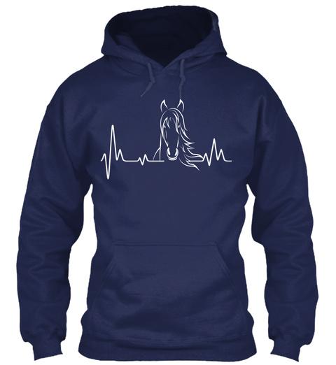 Horse Heartbeat Shirt Navy T-Shirt Front