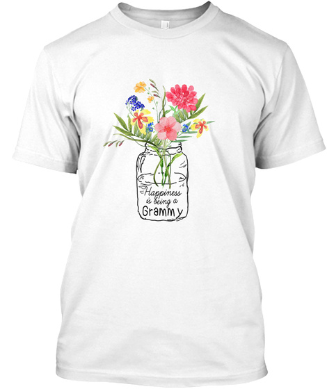 Womens Happiness Is Being Grammy Life  White T-Shirt Front