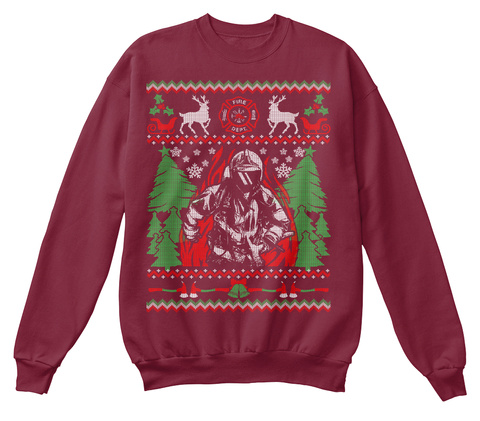 Firefighter Ugly Christmas Sweater Burgundy T-Shirt Front