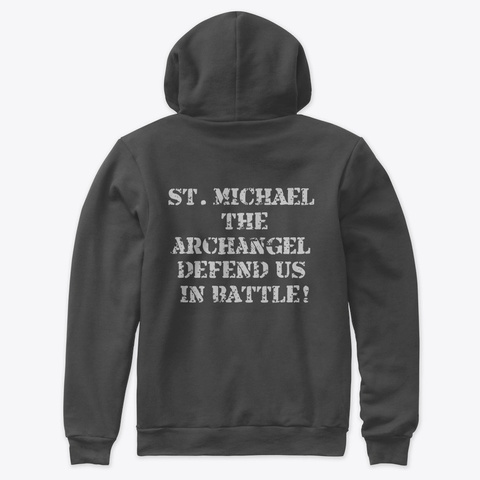 St. Michael  Patron Of Police Dark Grey Heather T-Shirt Back