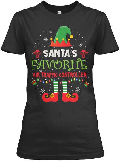 Sant's Favorite Air Traffic Controller Black T-Shirt Front