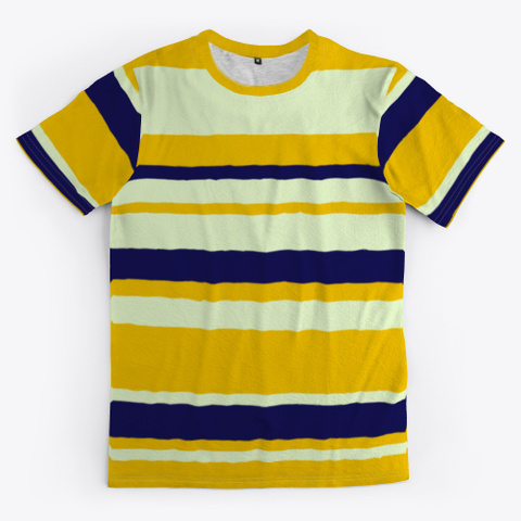Yellow Blue Abstract Stripes Standard T-Shirt Front