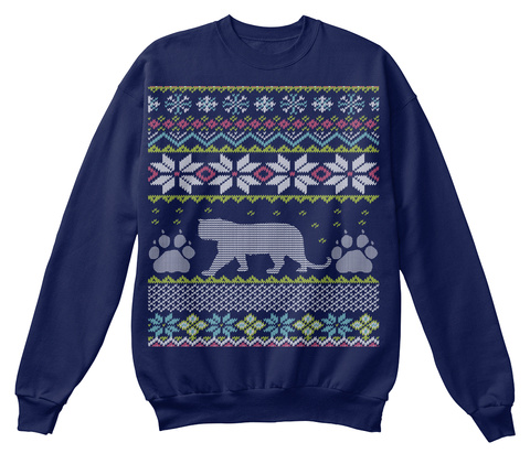 Tigers Ugly Christmas Sweaters Navy  T-Shirt Front