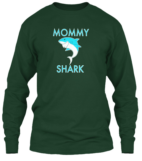 Mommy Shark Forest Green Long Sleeve T-Shirt Front