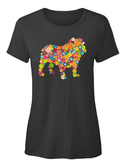 Bulldog Inglês Flor Black T-Shirt Front