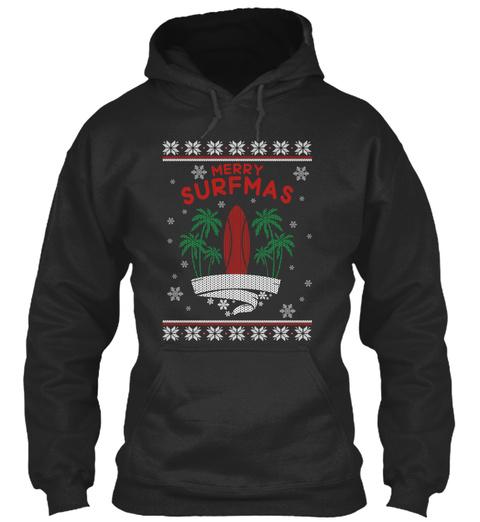 Merry Surfmas Jet Black T-Shirt Front