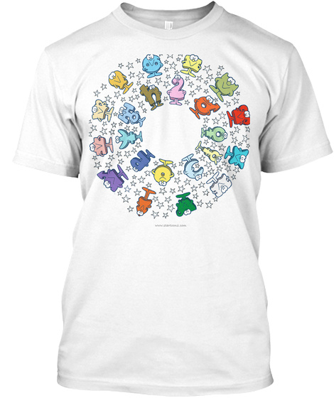 Star*Toonz: Zodiac Signs And Planets White T-Shirt Front