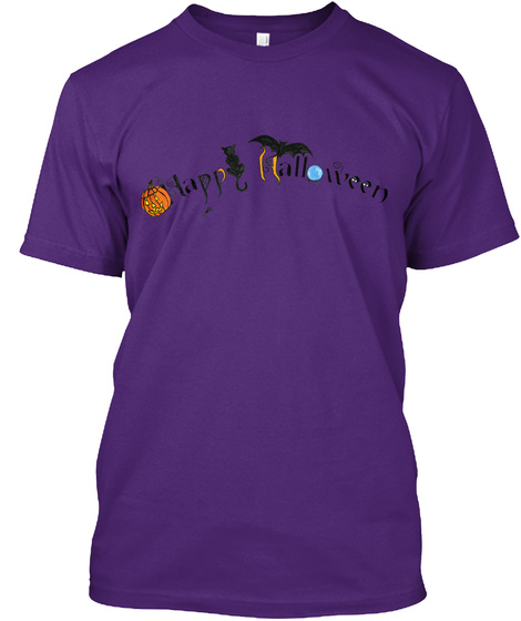 Happy Halloween Words Purple T-Shirt Front