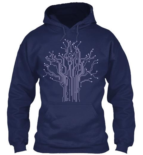 Circuit Tree Computer Engineering Navy T-Shirt Front
