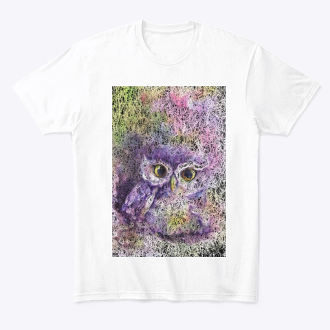 Abstract Owl Painting  White T-Shirt Front