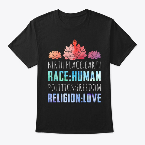 Human Race Zen Meditation Buddha Black T-Shirt Front