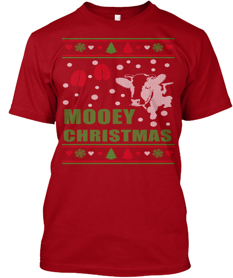 Mooey Christmas  Deep Red T-Shirt Front