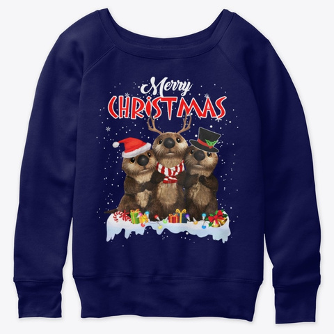 Cute Otter Team Christmas Lights Animal Navy  T-Shirt Front
