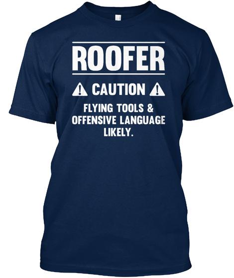 Roofer Caution Shirt Navy T-Shirt Front