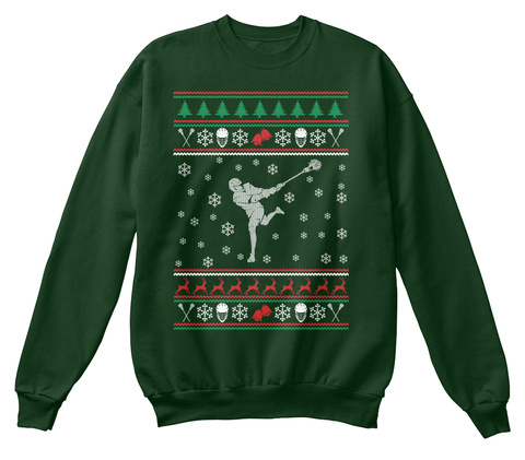 Christmas Sweater: Lacrosse Deep Forest  T-Shirt Front