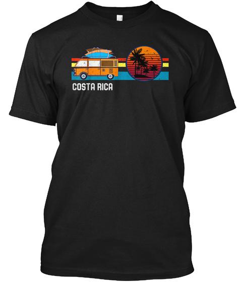 Vintage Costa Rica Beach Hippie Surf Van Black T-Shirt Front
