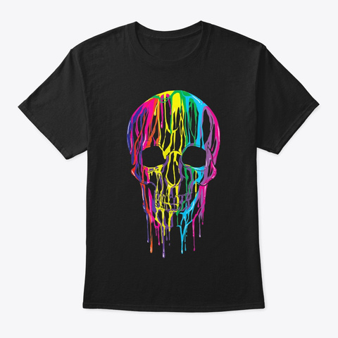Colorful Melting Skull T Shirt Halloween Black T-Shirt Front