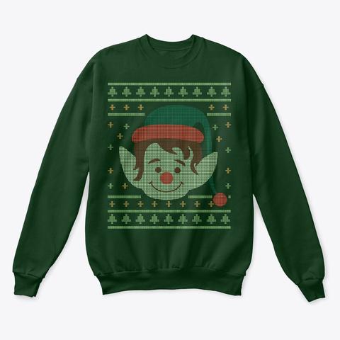 Christmas Elf Face Deep Forest  T-Shirt Front