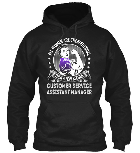 Customer Service Assistant Manager Black T-Shirt Front