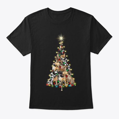 Great Dane Christmas Black T-Shirt Front