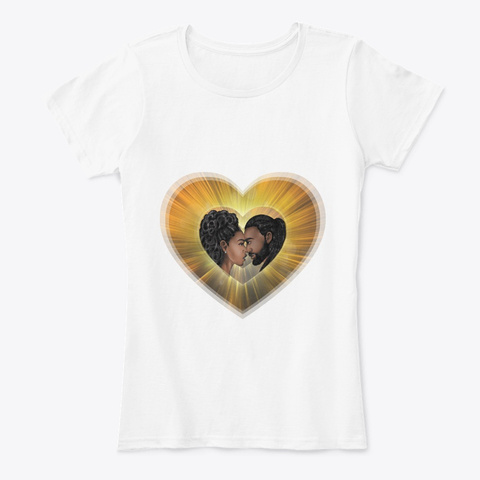 African Art   Long Locs Couple Real Love White T-Shirt Front