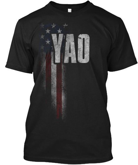 Yao Family American Flag Black T-Shirt Front