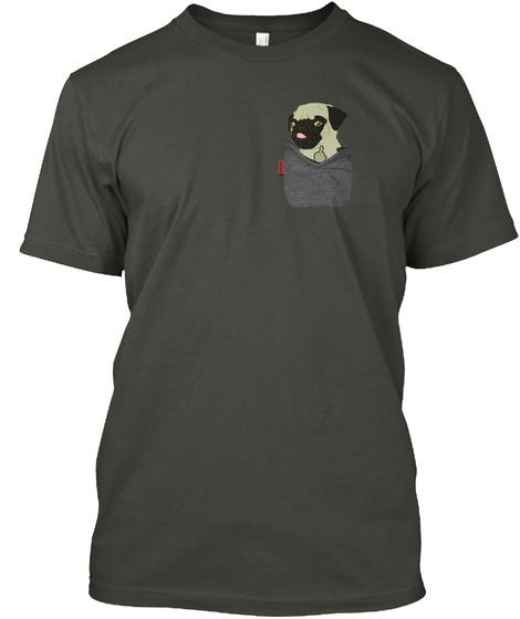 Fawn Pug Fu Pocket Smoke Gray T-Shirt Front