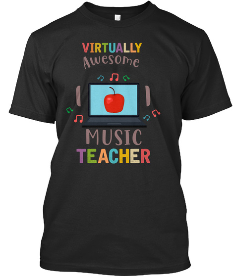Virtually Music Teacher T  Shirt Black T-Shirt Front