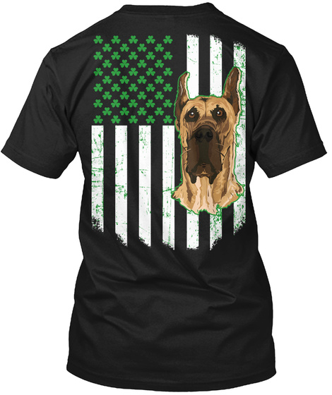 Saint Patricks Day Great Dane Dog Lovers Black T-Shirt Back