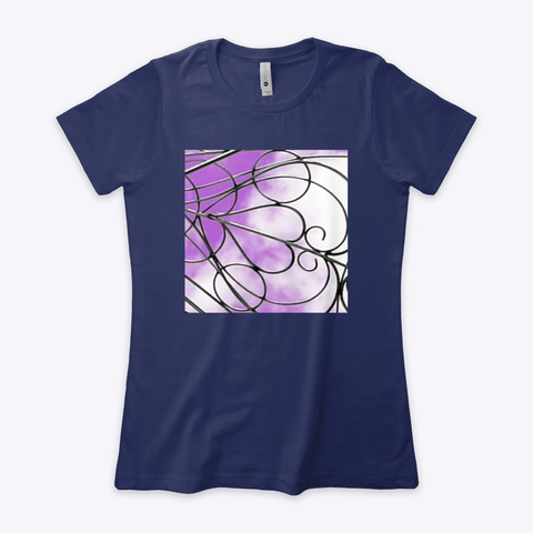 Purple Clouds With Heart Wire Art Midnight Navy T-Shirt Front