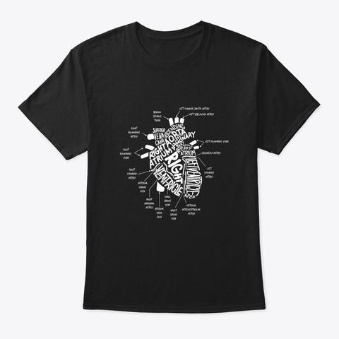 Anatomical Hear Cardiac Nurse Black T-Shirt Front