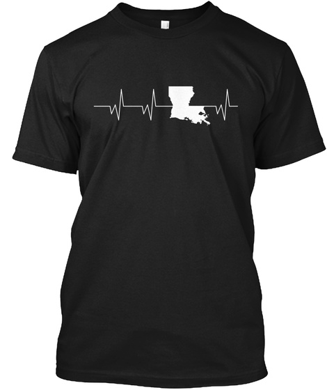 Louisiana Heartbeat Flood Relief Black T-Shirt Front
