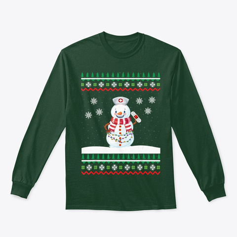 Xmas Outfit Snowman In Nurse Costume  Forest Green T-Shirt Front