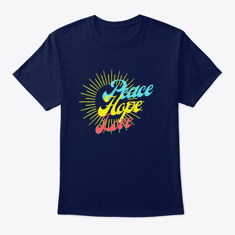 Hope Peace And Love Navy T-Shirt Front