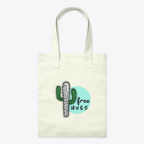 Free Hugs Cactus Natural T-Shirt Front
