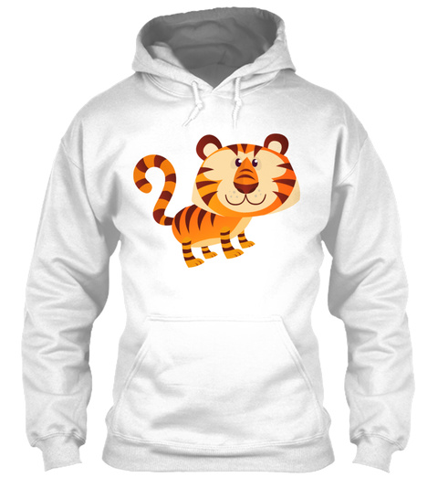 Tiger Animal Cartoon White T-Shirt Front