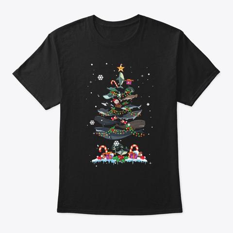 Shark Christmas Tree Xmas Shark Lover Black T-Shirt Front