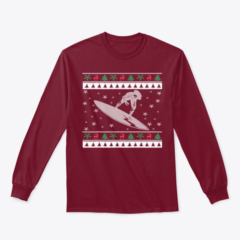 Funny Surfing Ugly Christmas Gift Tee Cardinal Red T-Shirt Front