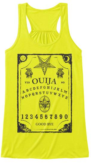 Yes Ouija No Abcdefghijklmnopqrstuywxyz 1234567890 Good Bye Neon Yellow áo T-Shirt Front