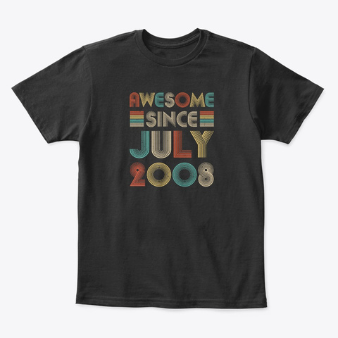 Awesome Since July 2008 Vintage 12th Black T-Shirt Front