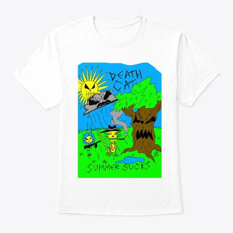 Summer Sucks Death Cat White T-Shirt Front